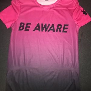 "Dutch bros pink ombré "" be aware "" tee"